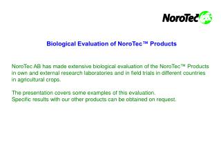 Biological Evaluation of NoroTec™ Products