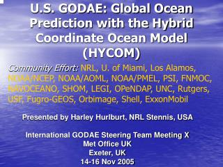 U.S. GODAE: Global Ocean Prediction with the Hybrid Coordinate Ocean Model (HYCOM)