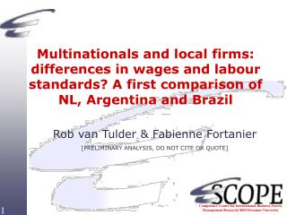Multinationals and local firms: differences in wages and labour standards A first comparison of NL, Argentina and Brazil