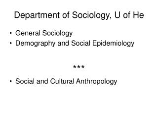 Department of Sociology, U of He