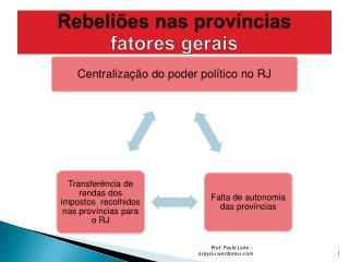 Rebeliões nas  províncias fatores gerais