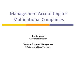 Management Accounting for Multinational Companies