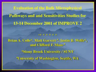 Evaluation of the Bulk Microphysical  Pathways and and Sensitivities Studies for