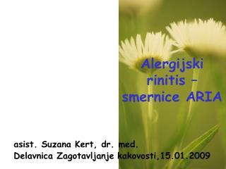 Alergijski rinitis – smernice ARIA