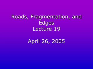 Roads, Fragmentation, and Edges Lecture 19 April 26, 2005