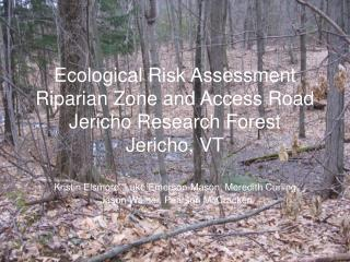 Ecological Risk Assessment Riparian Zone and Access Road Jericho Research Forest Jericho, VT