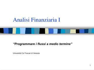 Analisi Finanziaria I