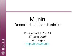 Munin Doctoral theses and articles