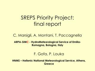 SREPS Priority Project: final report