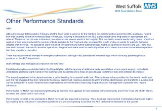 Other Performance Standards A&E:-