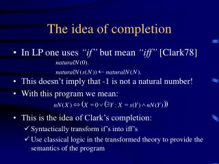 The idea of completion