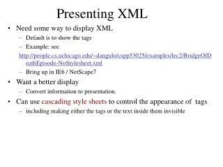 Presenting XML