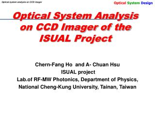 Optical System Analysis on CCD Imager of the ISUAL Project