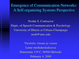 Emergence of Communication Networks: A Self-organizing Systems Perspective