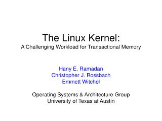 The Linux Kernel: A Challenging Workload for Transactional Memory
