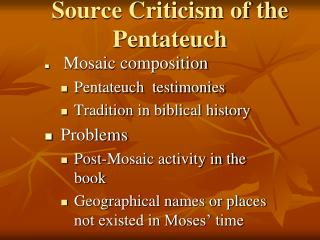 Source Criticism of the Pentateuch