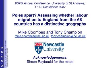 Mike Coombes and Tony Champion mike.coombes@ncl.ac.uk tony.champion@ncl.ac.uk Acknowledgements: