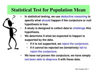 Statistical Test for Population Mean