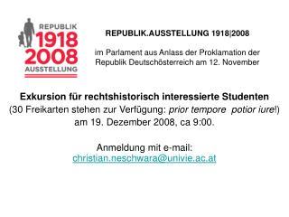 Exkursion für rechtshistorisch interessierte Studenten