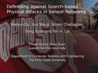 Defending against Search-based Physical Attacks in Sensor Networks