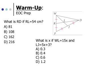 Warm-Up : EOC Prep