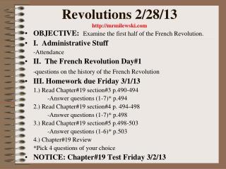 Revolutions 2/28/13 mrmilewski
