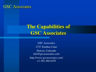 The Capabilities of GSC Associates
