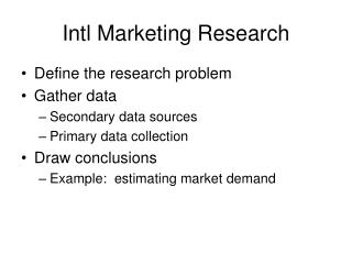 Intl Marketing Research