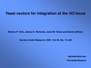 Yeast vectors for integration at the  HO  locus