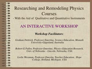 Workshop Facilitators :