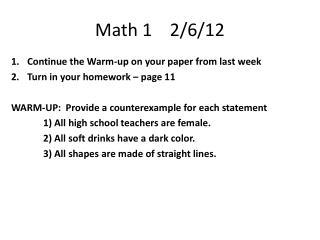 Math 1    2/6/12