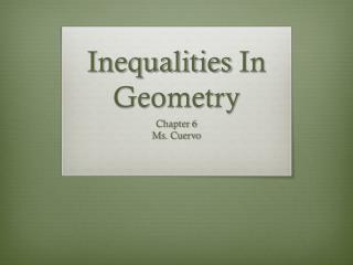 Inequalities  I n Geometry
