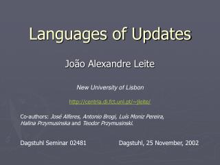 Languages of Updates