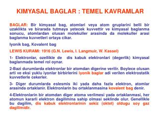 KIMYASAL BAGLAR : TEMEL KAVRAMLAR