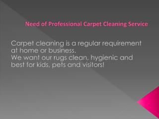 Need of Professional Carpet Cleaning Service
