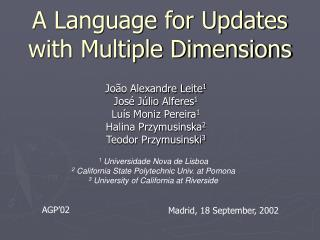 A Language for Updates with Multiple Dimensions