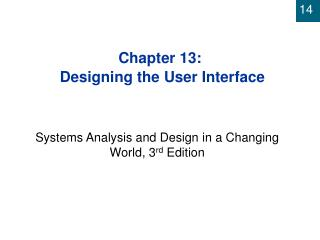 Chapter 13:  Designing the User Interface