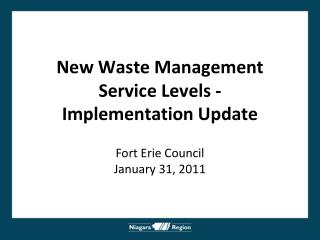New Waste Management  Service Levels -  Implementation Update