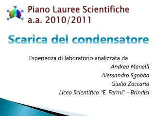 Piano Lauree Scientifiche  a.a.  2010/2011