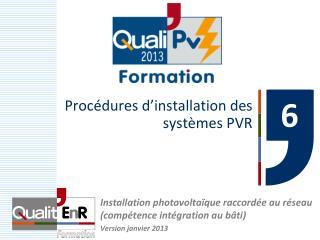 Procédures d'installation des systèmes PVR