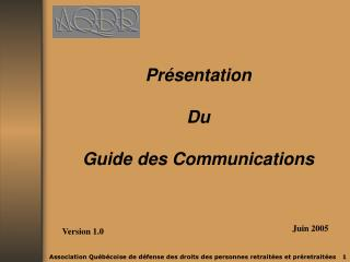 Présentation  Du Guide  d es Communications