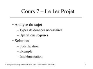 Cours 7 – Le 1er Projet