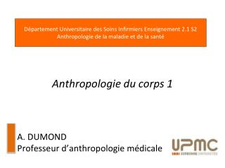 Anthropologie du corps 1 A. DUMOND Professeur d ' anthropologie médicale