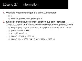 Lösung 2.1Information