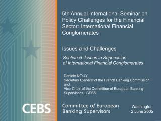 Section 5: Issues in Supervision  of International Financial Conglomerates