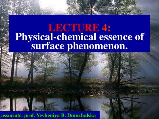 LECTURE  4: Physical-chemical essence of surface phenomenon.
