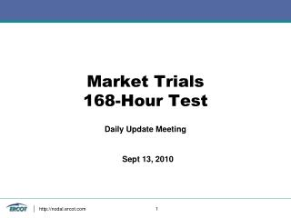 Market Trials 168-Hour Test