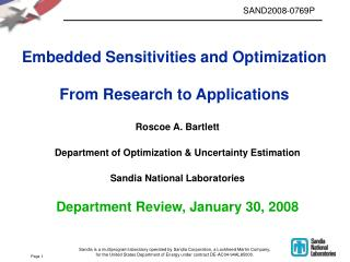 Embedded Sensitivities and Optimization From Research to Applications