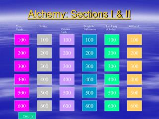 Alchemy: Sections I & II