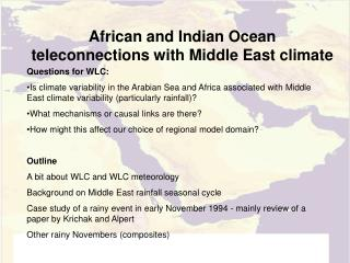 African and Indian Ocean teleconnections with Middle East climate